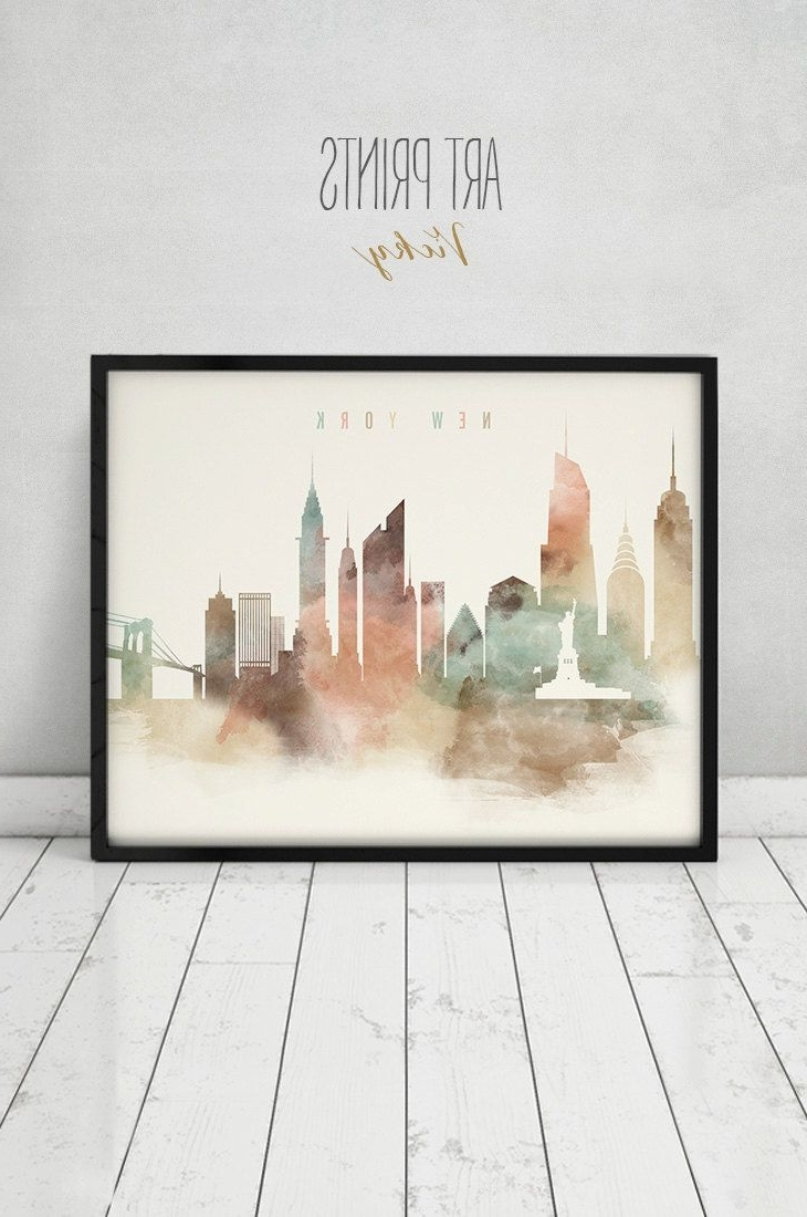 New York Art Print, Watercolor Poster, Nyc, Travel, Cityscape In Newest New York Wall Art (View 7 of 15)