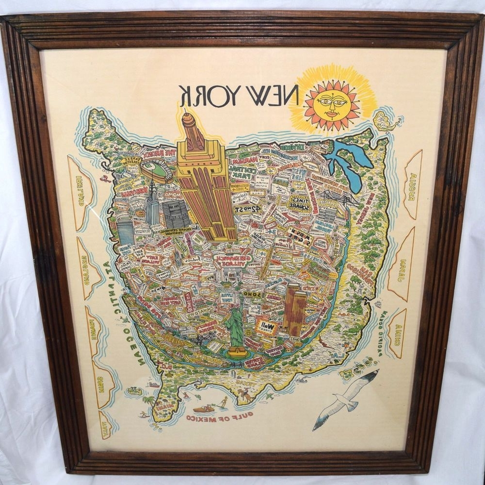 New York City Map Wall Art For Newest Vintage New York City Map Wall Art Illustrated Typography Bright Wtc (View 8 of 15)
