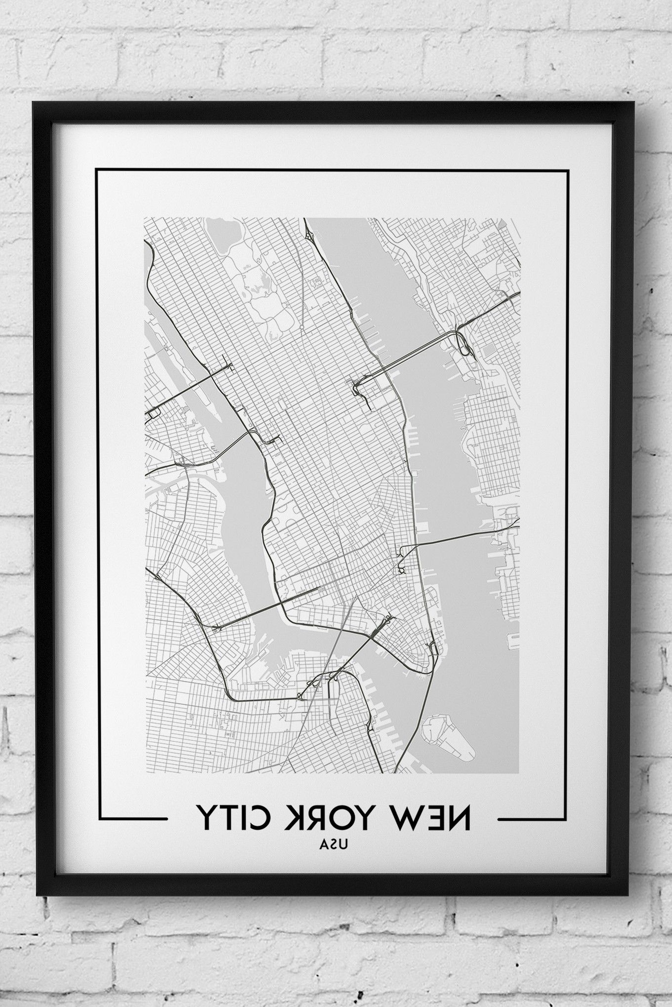 New York City Map Wall Art Pertaining To Well Known New York City Map Digital Download, Poster, Map Of New York, New (View 2 of 15)