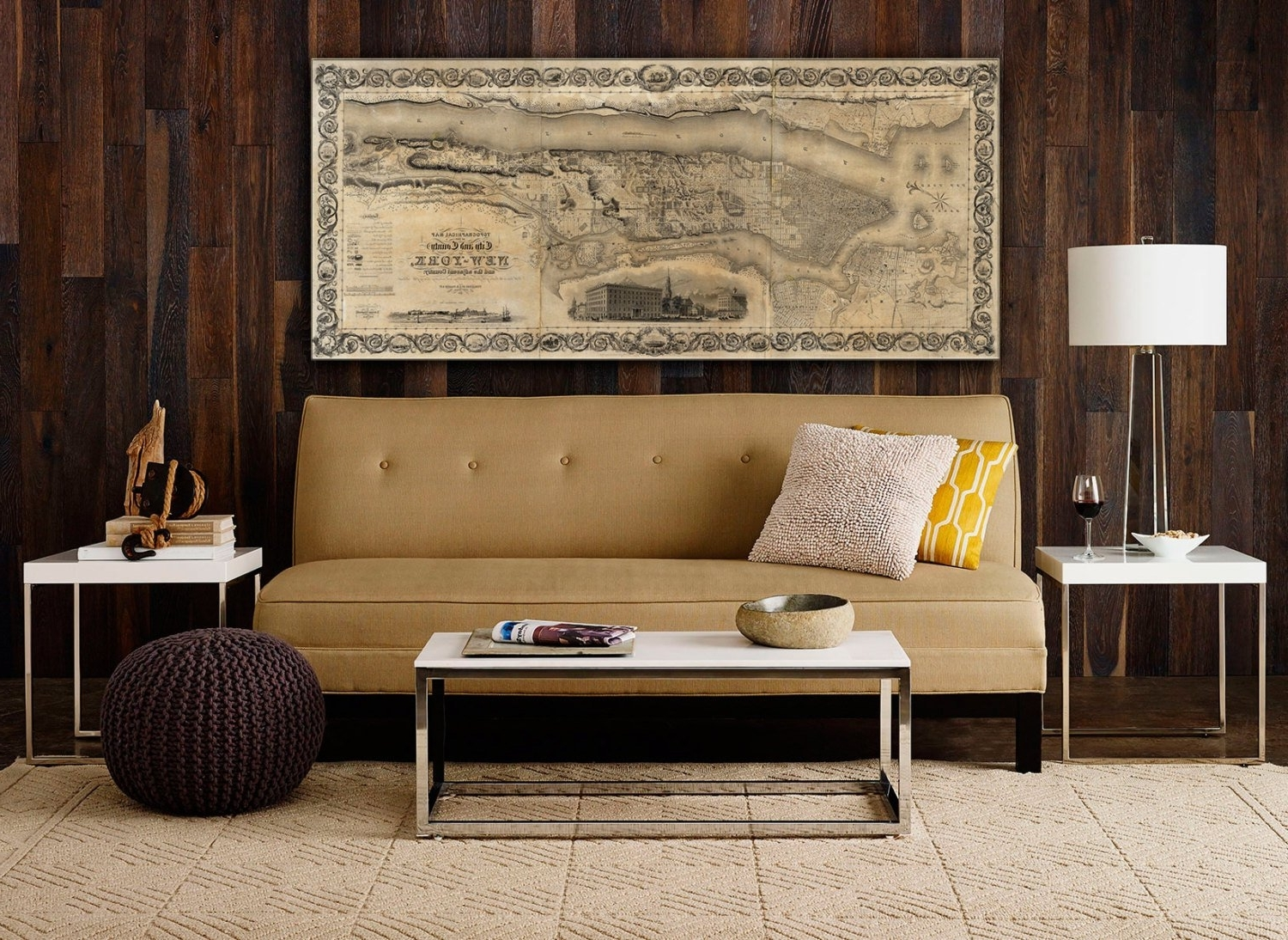 New York City Map Wall Art With Regard To Famous Giant Vintage New York City Map Old Antique Restoration Decor Style (View 13 of 15)