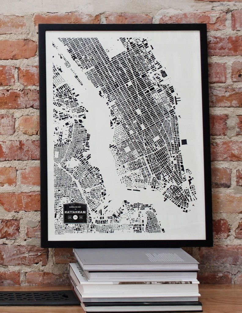 New York City Map Wall Art With Regard To Well Liked Manhattan New York City Nyc City Map Print Ny Buildings Architecture (View 12 of 15)