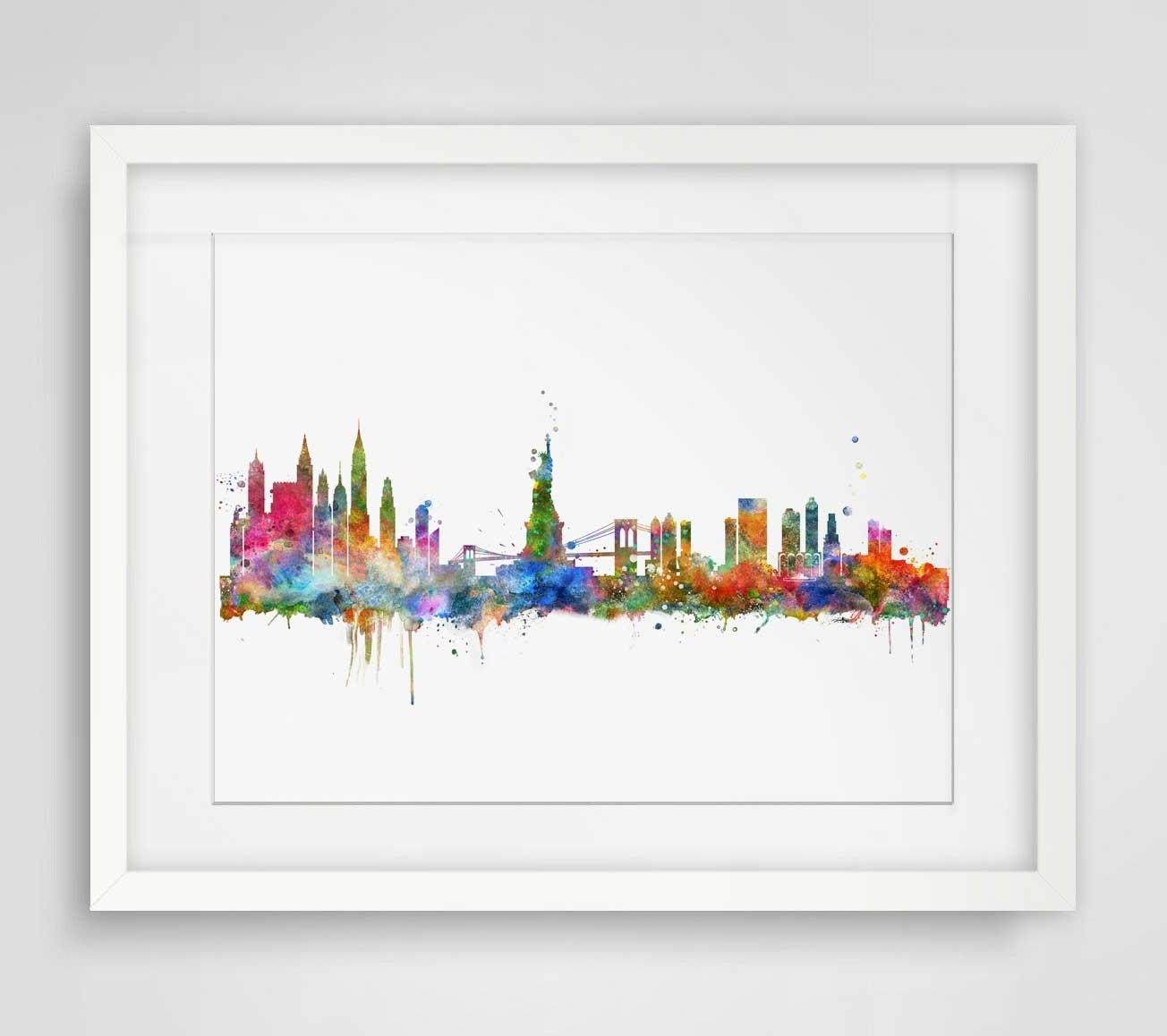 New York City Skyline Watercolor Poster Ny City Map Skyline Art Regarding Fashionable New York City Map Wall Art (View 9 of 15)