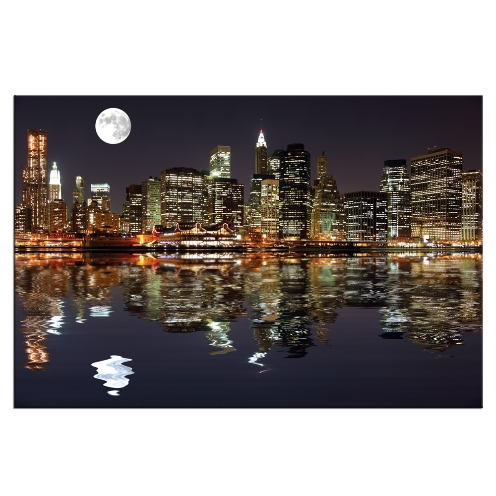 New York Night View Picture Canvas Prints Manhattan Skyline Moon Inside Fashionable New York Canvas Wall Art (View 9 of 15)