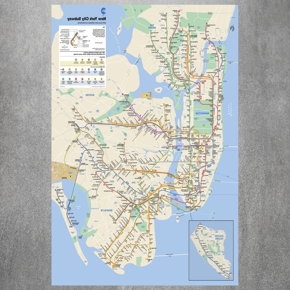 New York Subway Map Wall Art In Well Known New York City Subway Map Canvas Art Print Painting Poster Wall (View 3 of 15)