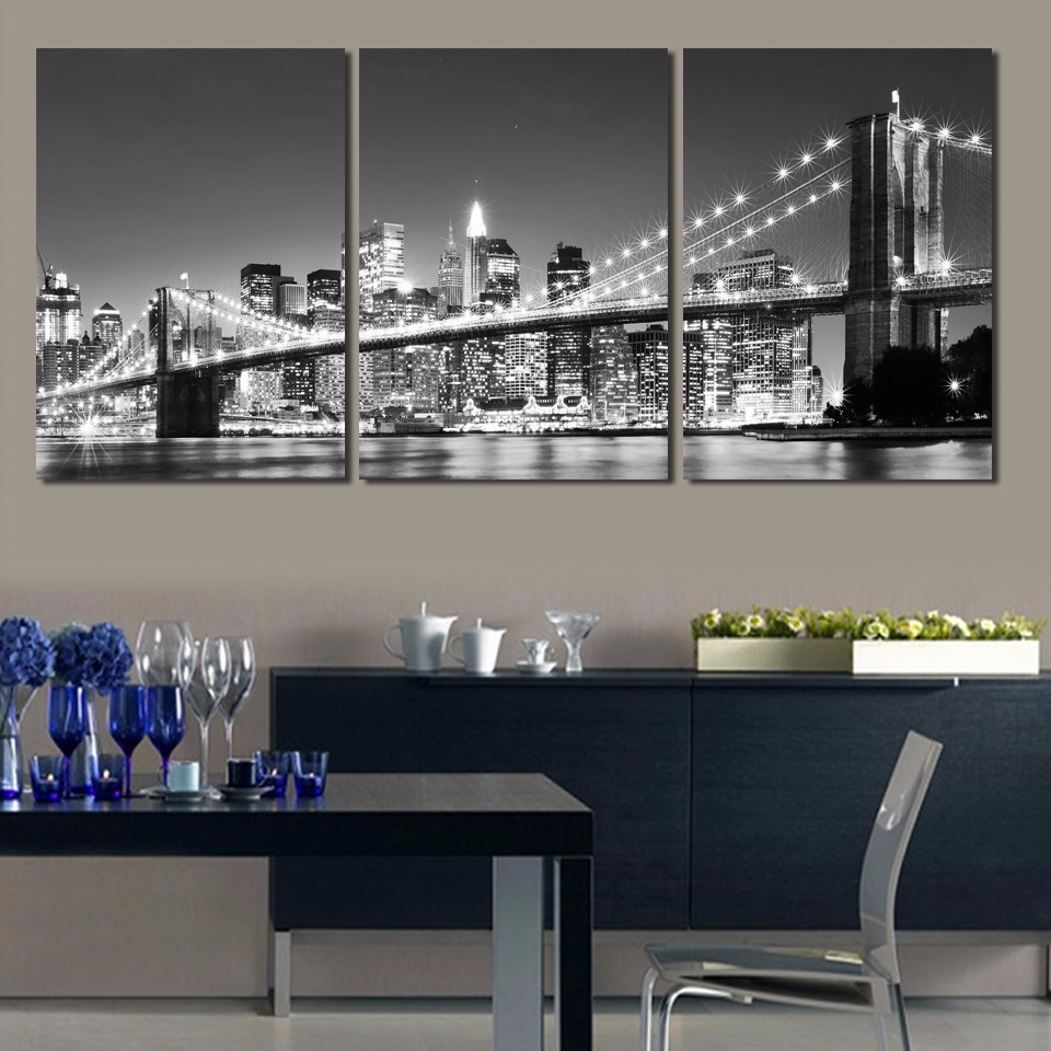 New York Wall Art For Trendy 3 Pieces 3 Sizes Wall Decor Home Poster New York Brooklyn Bridge (View 8 of 15)