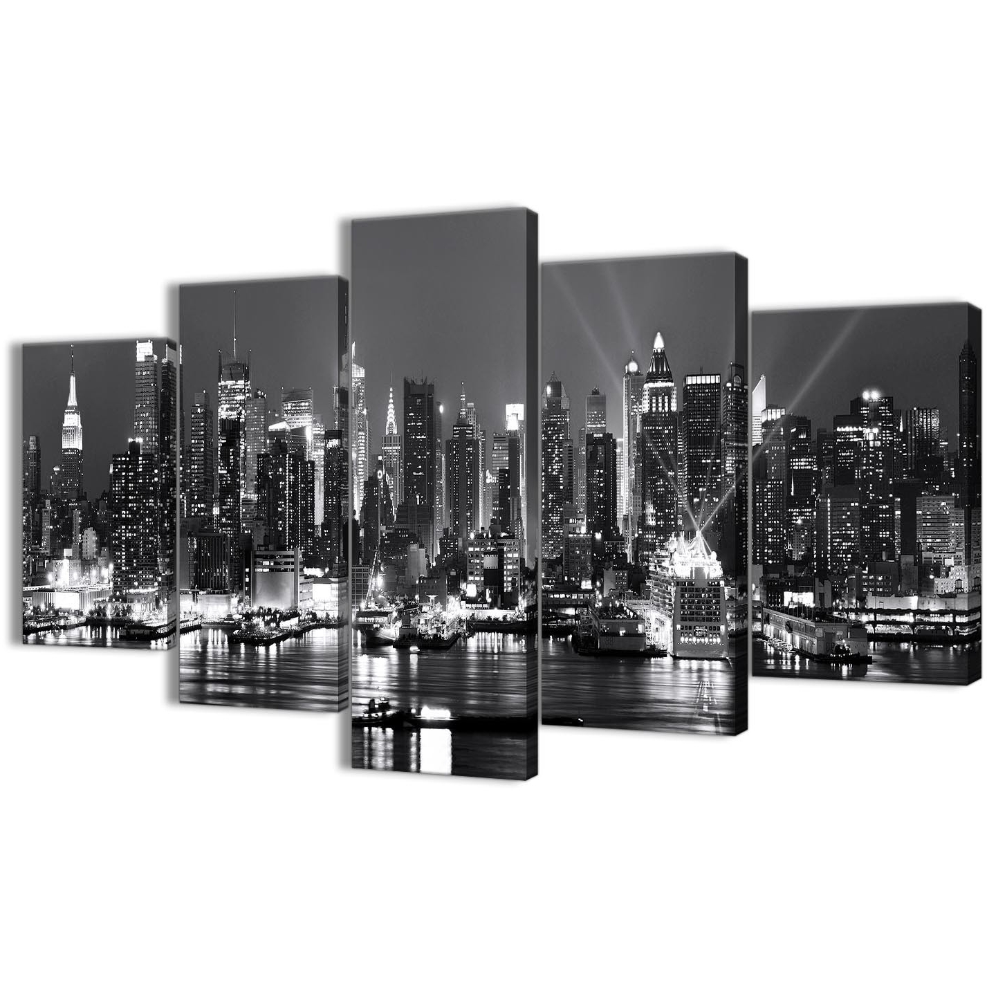 New York Wall Art Inside Most Up To Date 5 Panel Landscape Canvas Wall Art Prints – New York Hudson River (View 9 of 15)