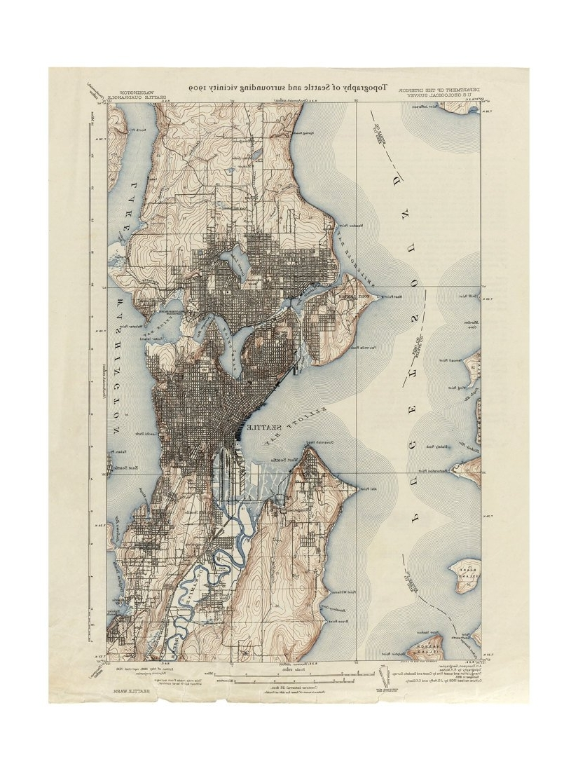 Newest 1909 Topographic Map Of Seattle – Old Maps And Prints – Emerald City Pertaining To Seattle Map Wall Art (View 3 of 15)