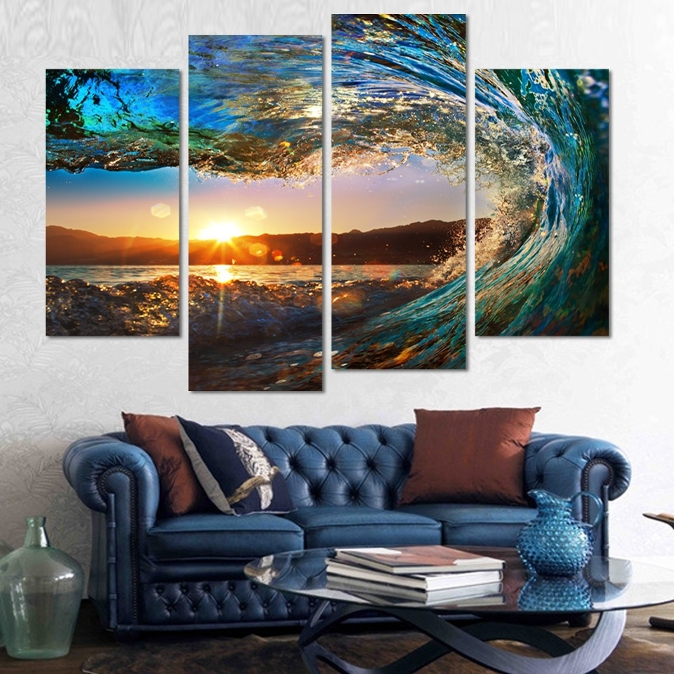 Newest 4 Piece Wall Art In 4 Pieces Modern Seascape Painting Canvas Art Hd Sea Wave Landscape (View 13 of 15)