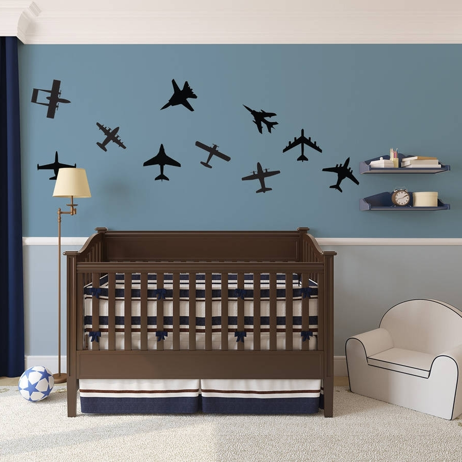 Newest Airplane Wall Art With Airplanes Wall Art Decal Pack For Kidsvinyl Revolution (View 11 of 15)