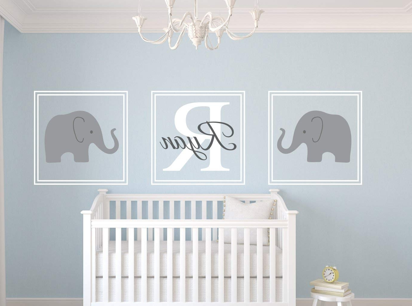 Newest Amazon : Elephant Name Wall Decal Set Nursery Wall Decor : Baby With Nursery Wall Art (View 4 of 15)