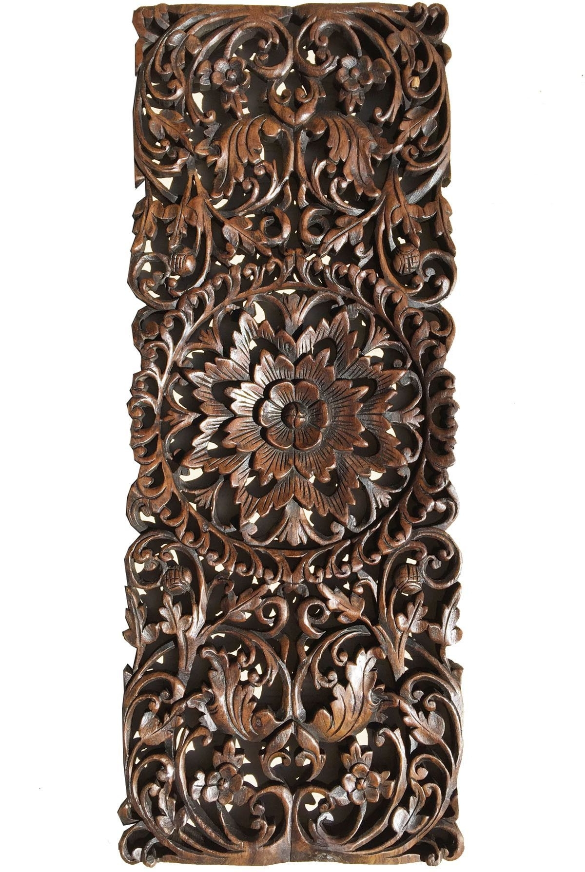 Newest Asian Wall Art Within Floral Tropical Carved Wood Wall Panel (View 9 of 15)