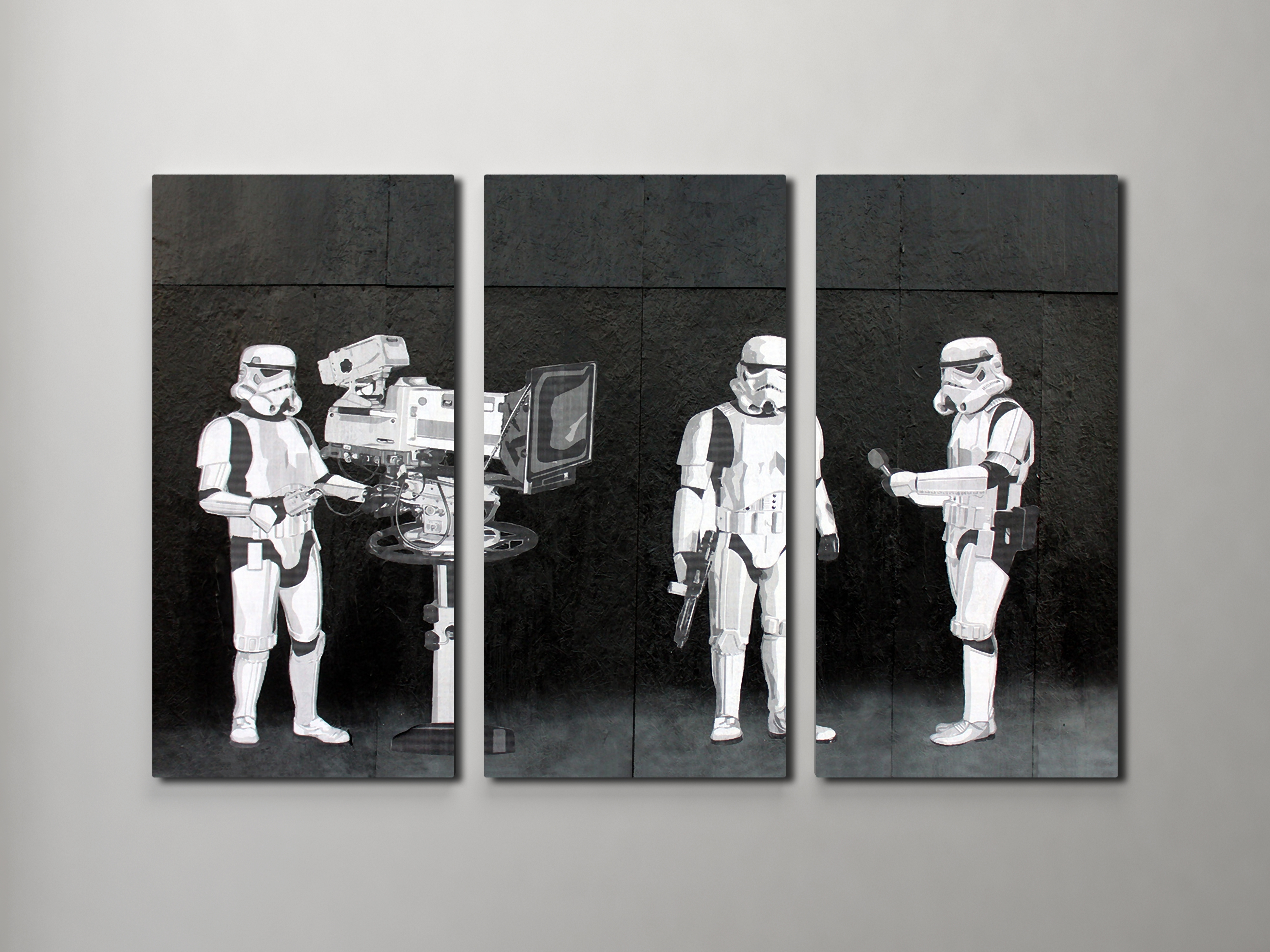 Newest Banksy Stormtroopers Filming Oscars Triptych Canvas Wall Art with Triptych Wall Art