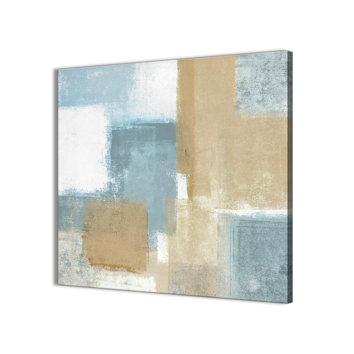 Newest Blue Beige Brown Abstract Painting Canvas Wall Art Print – Modern Throughout Modern Painting Canvas Wall Art (View 13 of 15)