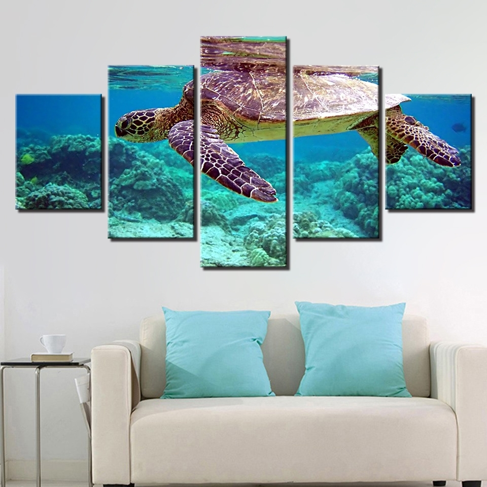 Newest Canvas Pictures Wall Art Framework 5 Pieces Blue Deep Sea Turtle Pertaining To Sea Turtle Canvas Wall Art (View 13 of 15)