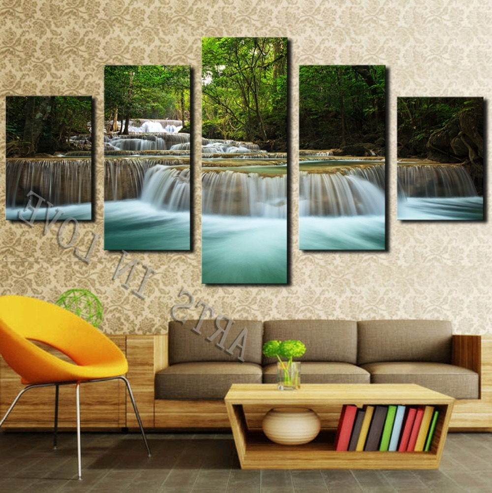 Newest Cheap Large Canvas Wall Art Within 5 Panel Waterfall Painting Canvas Wall Art Picture Home Decoration (View 14 of 15)