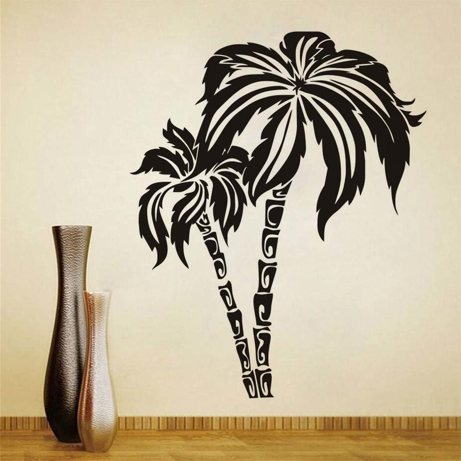 Newest Dctop Green Palm Tree Wall Stickers For Living Room Waterproof Wall In Palm Tree Wall Art (View 7 of 15)
