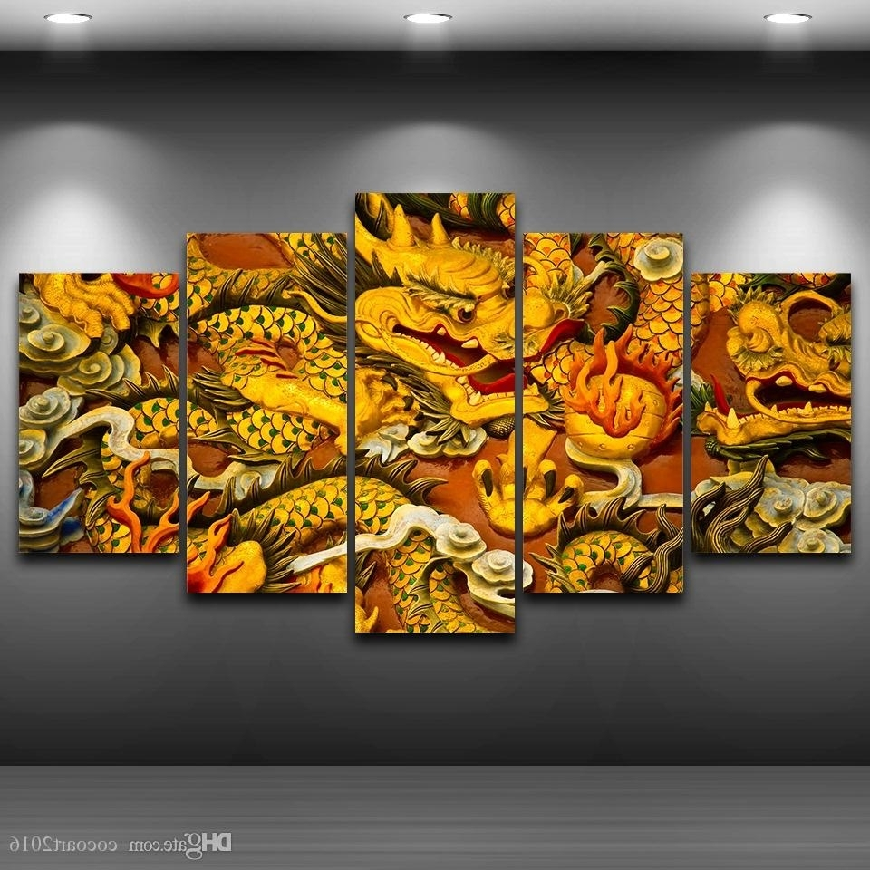 Newest Dragon Wall Art Within 2018 Hd Printed Canvas Art Chinese Dragon Canvas Painting Wall (View 7 of 15)