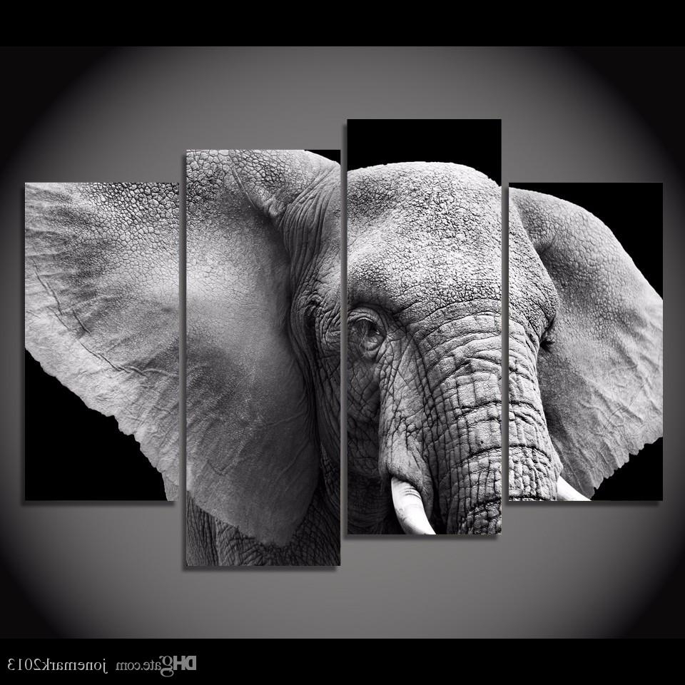 Newest Elephant Canvas Wall Art In 2018 Framed Hd Printed Black White Elephant Tusks Ear Picture Wall (View 10 of 15)