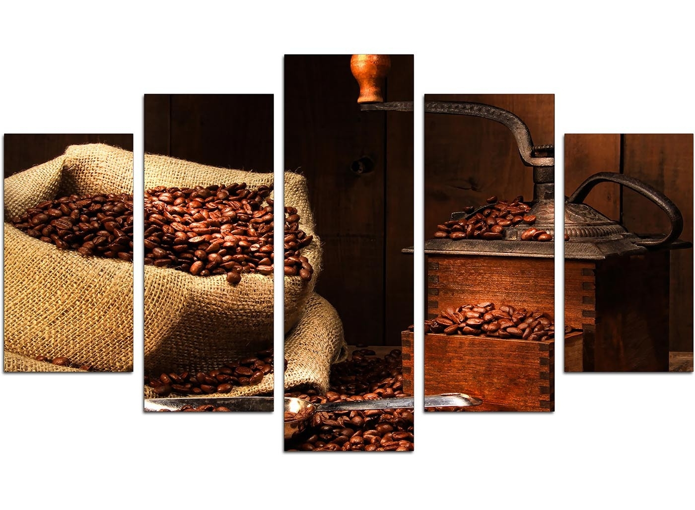 Newest Extra Large Coffee Beans Canvas Wall Art 5 Piece In Brown With Kitchen Canvas Wall Art (View 2 of 15)