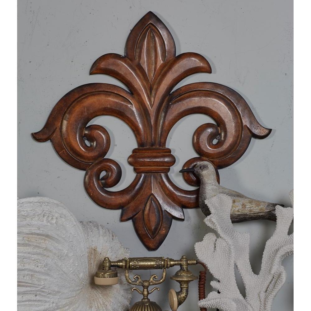 Newest Fleur De Lis Wall Art Regarding Litton Lane French Inspired Carved Fleur De Lis Wooden Wall Art (View 2 of 15)