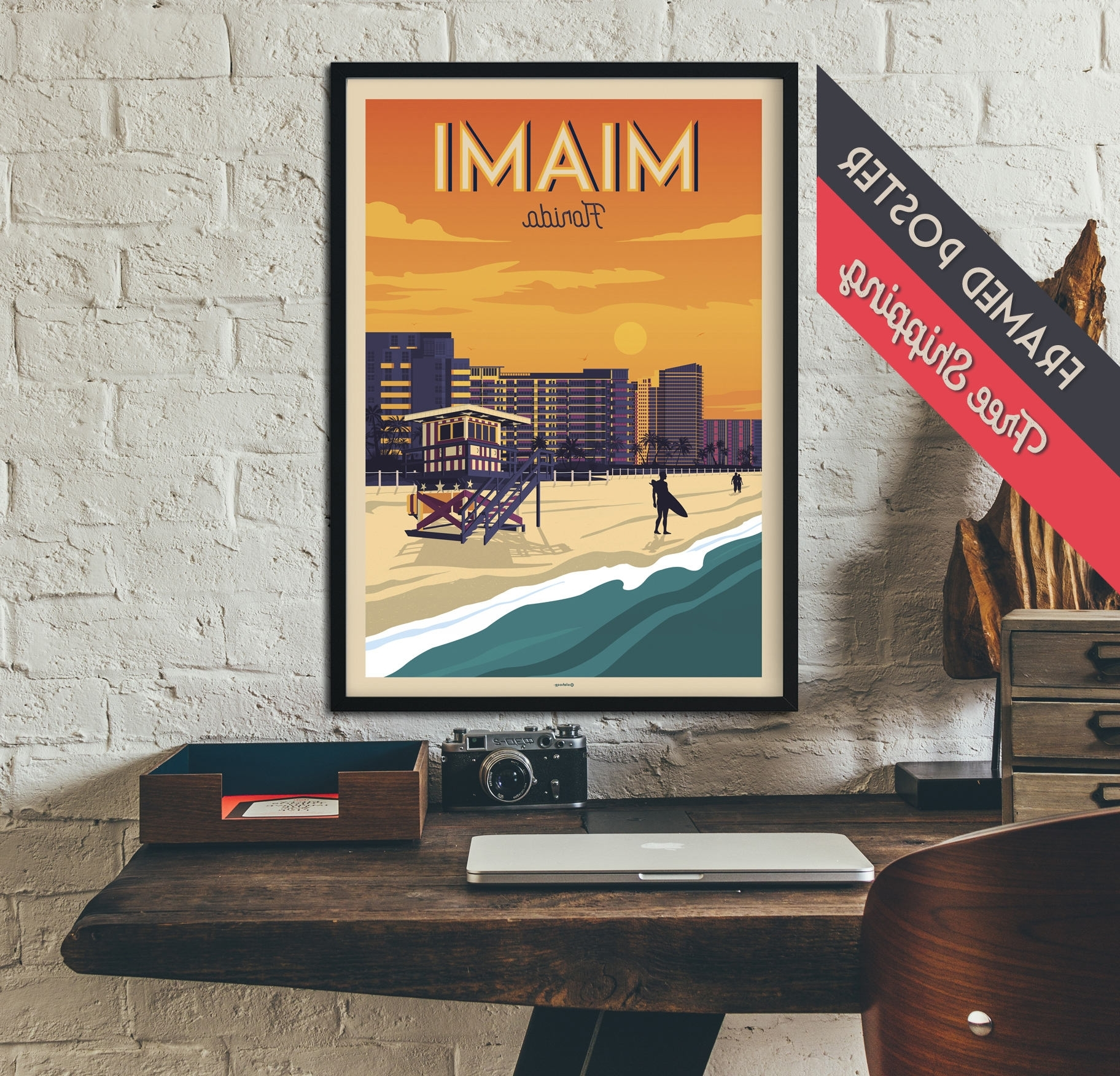 Newest Florida Wall Art Throughout Miami – Florida – Vintage Travel Poster, Framed Poster, Wall Art (View 6 of 15)