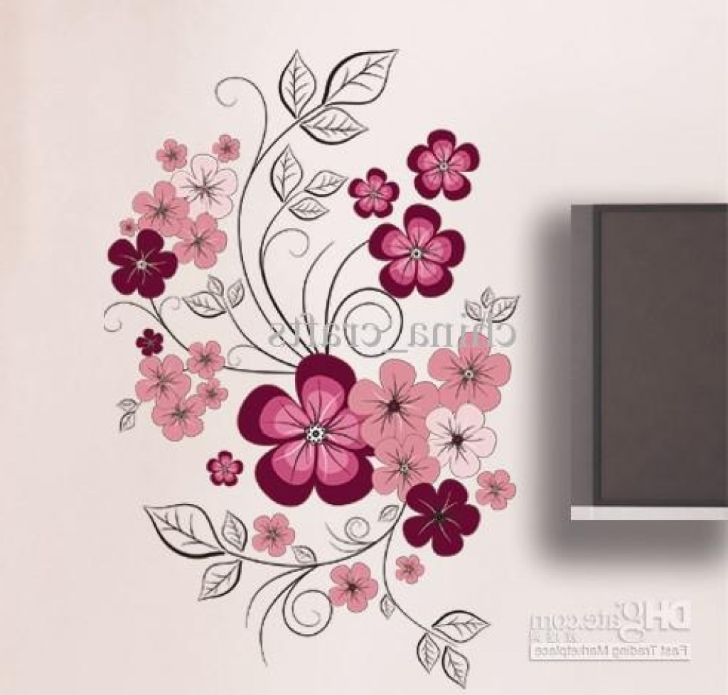 Newest Flower Wall Art Decor Wholesale Removable Swallow And Flowers Wall Intended For Flower Wall Art (View 9 of 15)