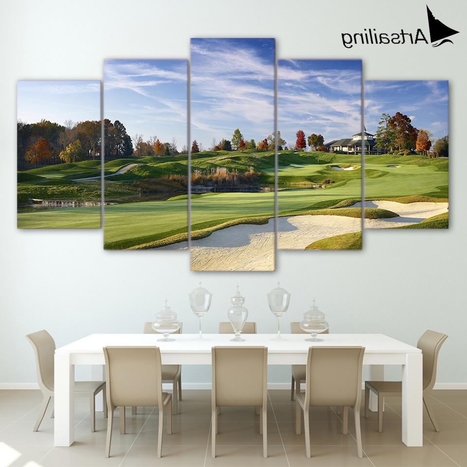 Newest Golf Canvas Wall Art In Canvas Paintings Printed 5 Pieces Golf Course Wall Art Canvas (View 4 of 15)