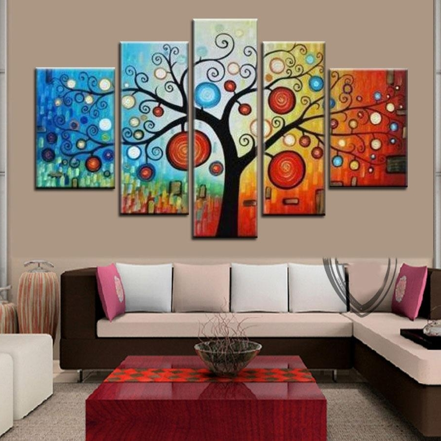 Newest Hand Painted Modern Abstract Apple Tree Oil Painting On Canvas Large Inside Abstract Oil Painting Wall Art (View 2 of 15)