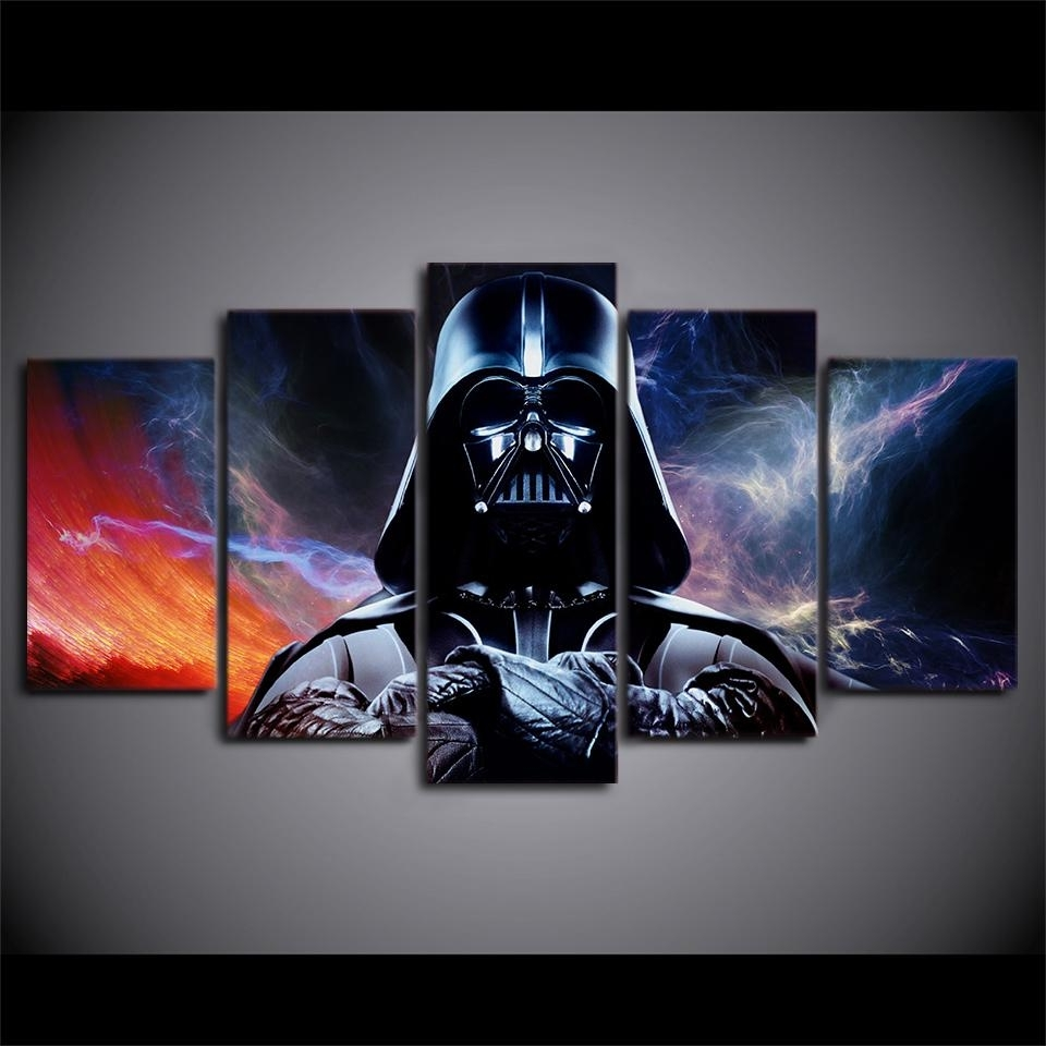Newest Hd Print 5Pcs Star Wars Movie Darth Vader Canvas Wall Art Painting Throughout Darth Vader Wall Art (View 3 of 15)