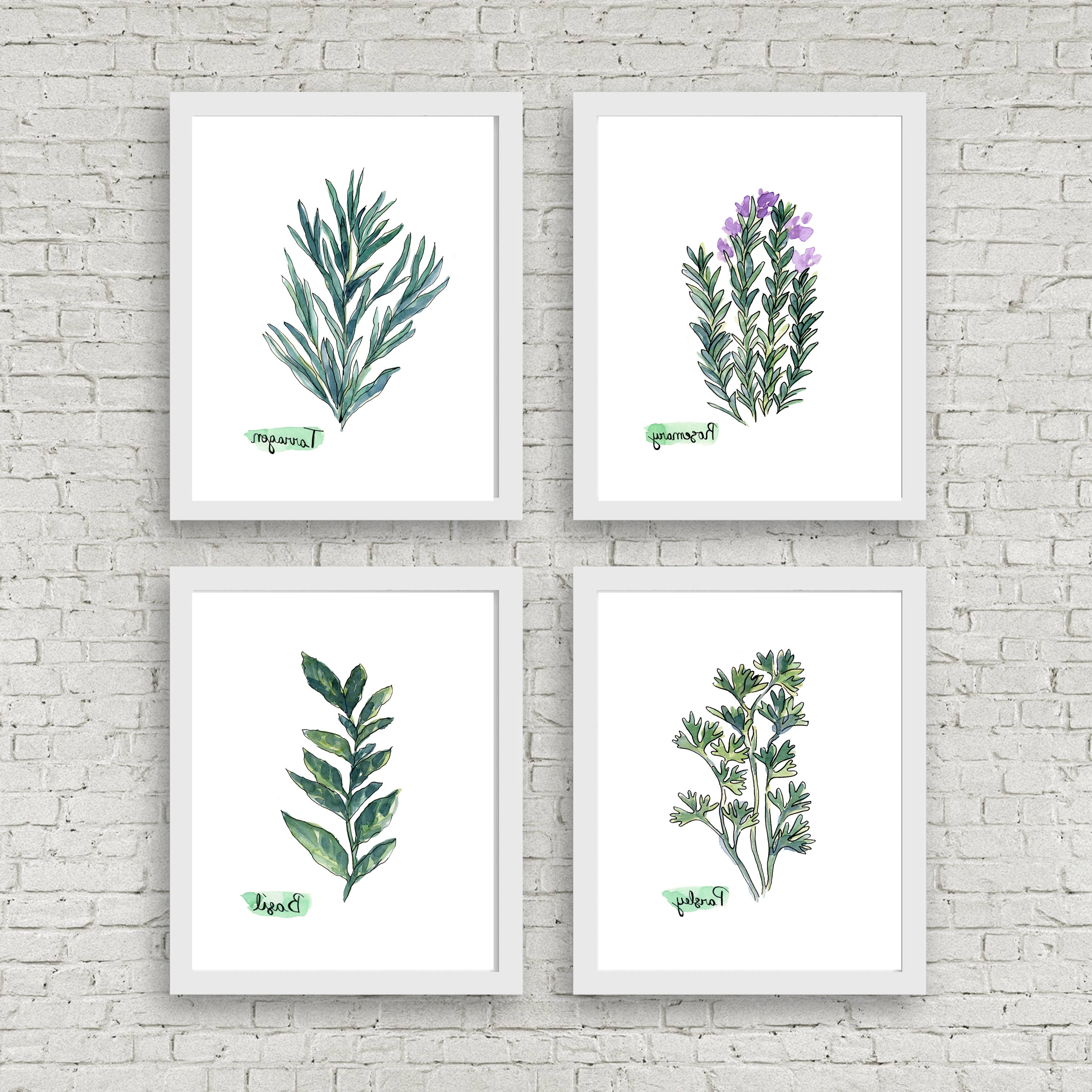 Newest Herb Wall Art With Watercolor Herb Print Set Of 4 Watercolor Green Botanical Prints (View 3 of 15)