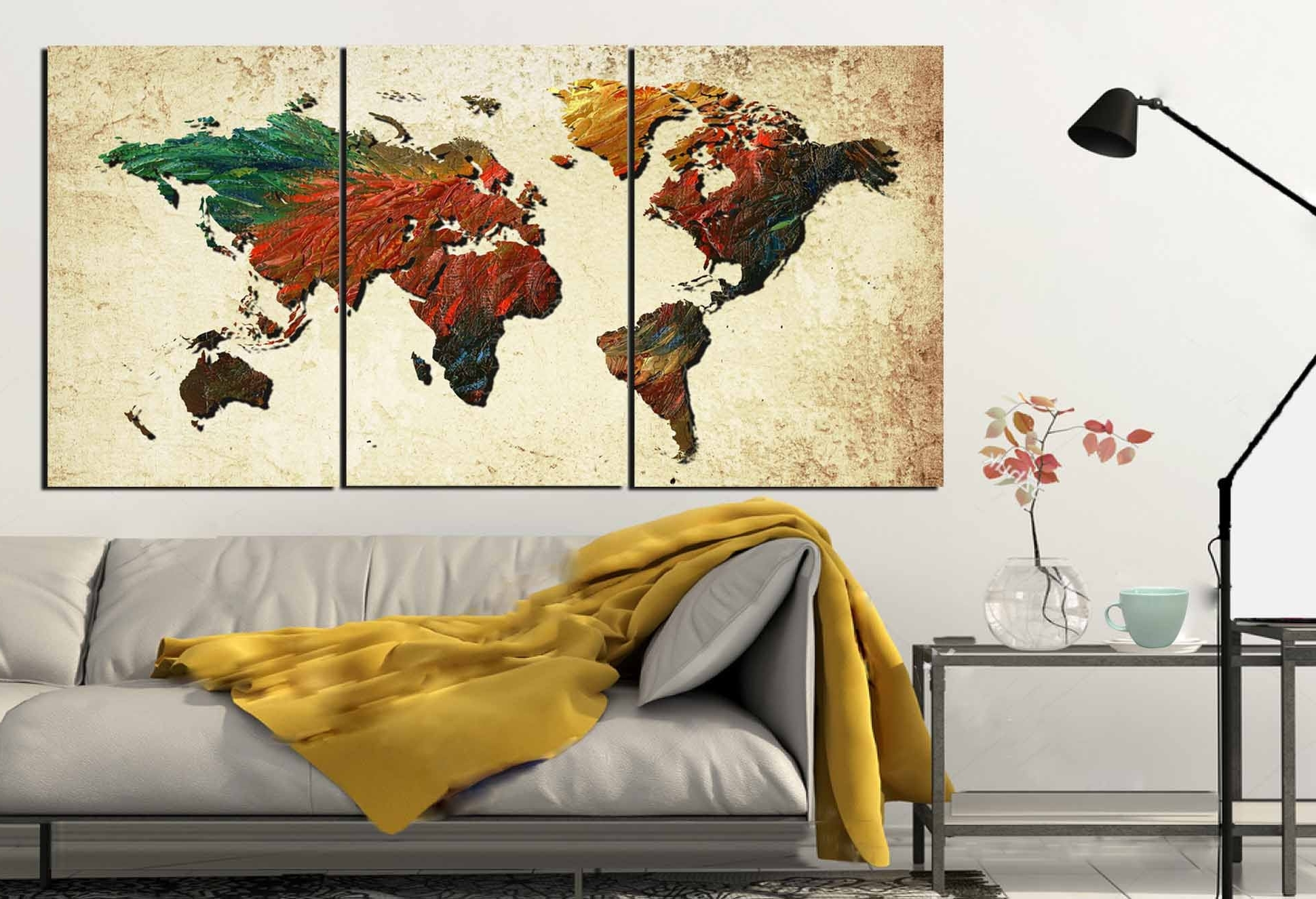 Newest Large World Map,world Map, World Map Painting, Abstract Map Wall Art With Regard To Wall Art Map Of World (View 8 of 15)