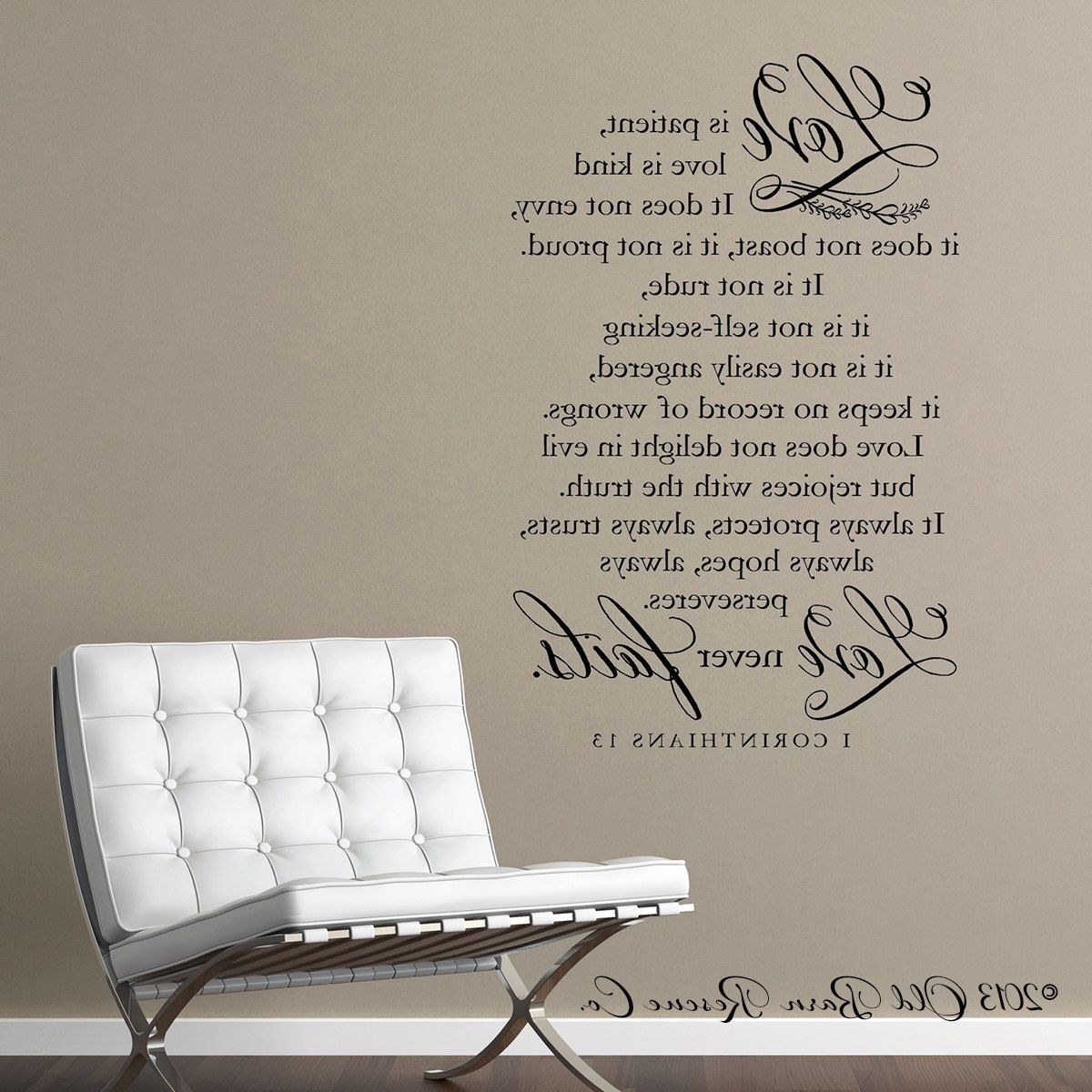 Newest Love Is Patient Wall Art For Appealing Wall Art Decor Ideas Sofa Corinthians Chair White Pict Of (View 10 of 15)