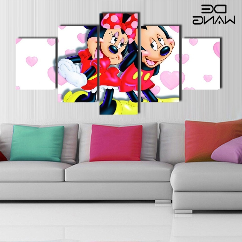 Newest Mickey Mouse Canvas Wall Art In 5 Piece Canvas Art Paintings Wall Pictures Canvas Painting (View 13 of 15)