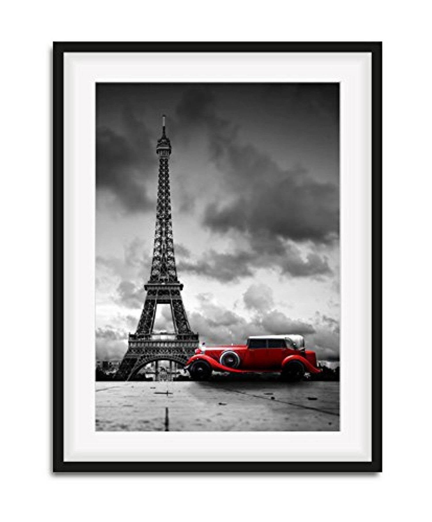Newest Modern Framed Wall Art, Eiffel Tower And Red Car Picture Canvas Wall Regarding Modern Framed Wall Art Canvas (View 13 of 15)