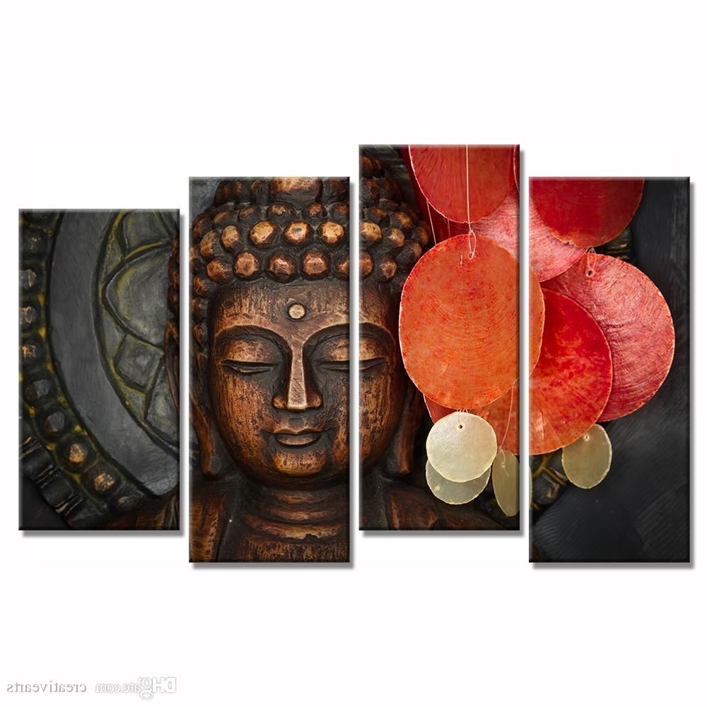 Newest Multi Piece Wall Art In 2018 Multi Pieces Buddha Canvas Wall Art For Living Room Decoration (View 13 of 15)