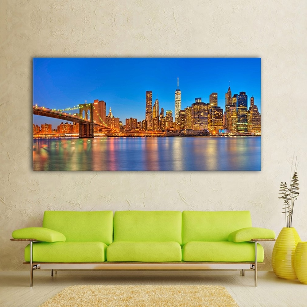 Newest Nyc Wall Art Pertaining To Large Size Photo Picture Nyc Skyline Landscape Canvas Print Poster (View 9 of 15)