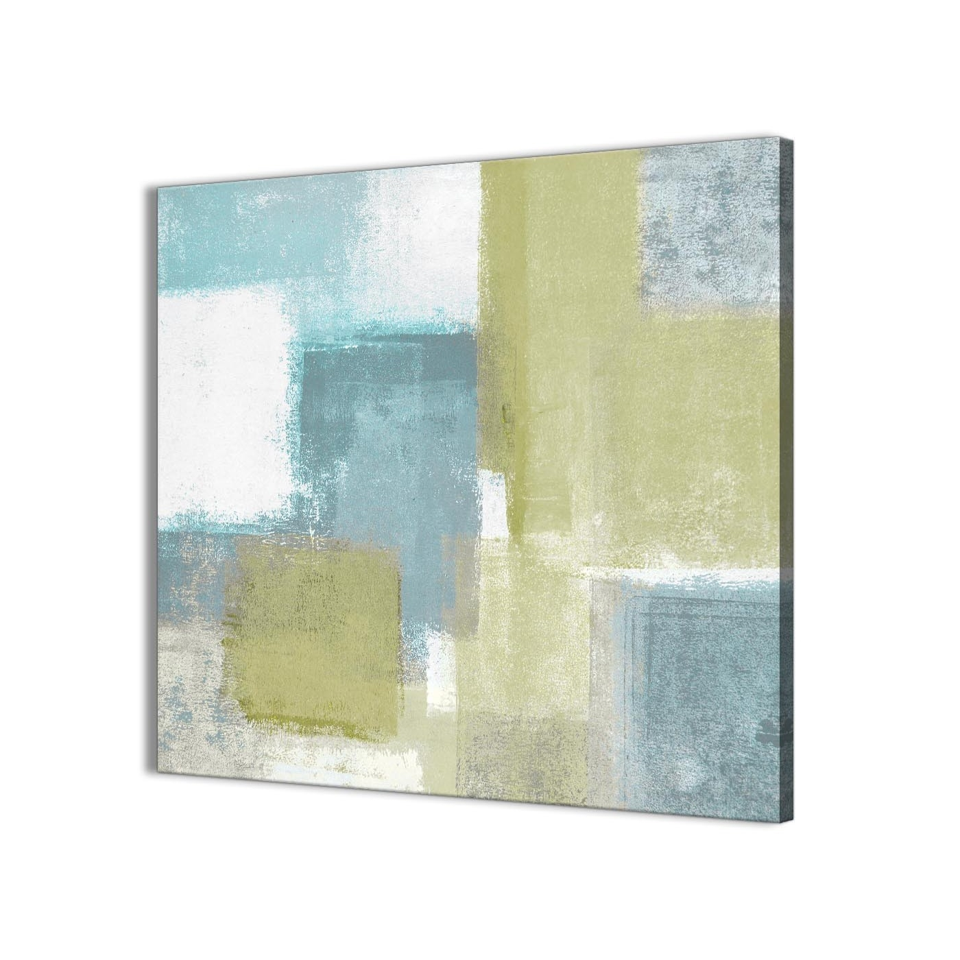 Newest Oversized Teal Canvas Wall Art Pertaining To Lime Green Teal Abstract Painting Canvas Wall Art Print – Modern (View 7 of 15)