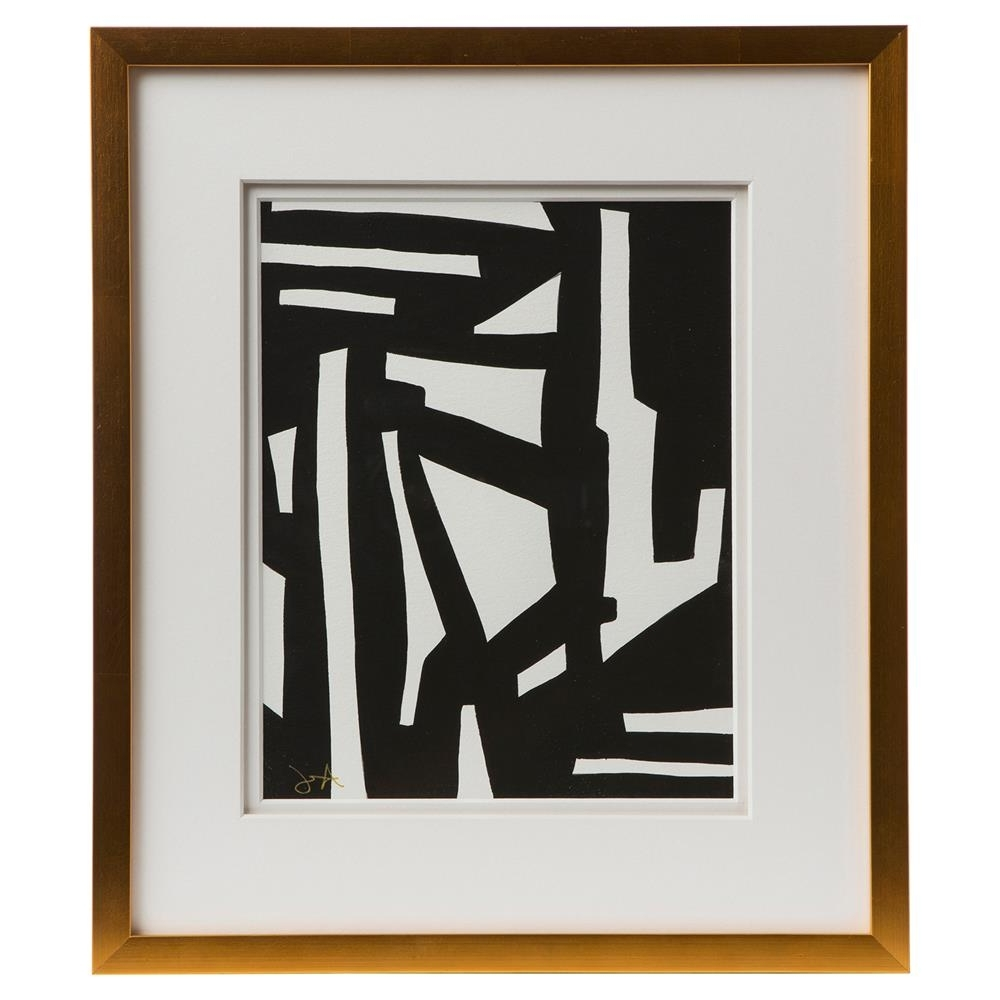 Newest Peyton Modern Classic Black White Gold Frame Wall Art I Kathy Regarding Black And Gold Wall Art (View 14 of 15)
