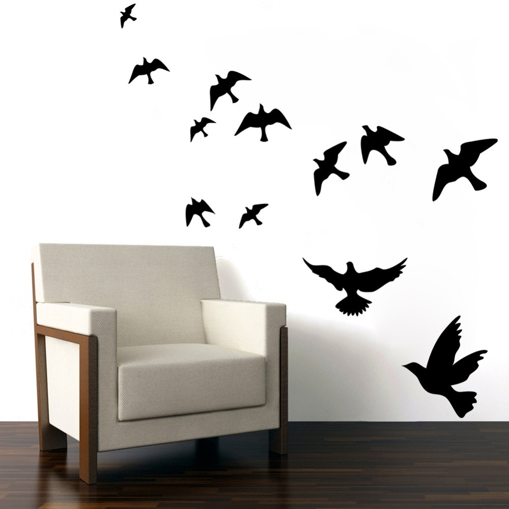 Newest Pretty Geese Ducks Birds Flying Wall Art Vinyl Decoration Removable With Regard To Bird Wall Art (View 3 of 15)