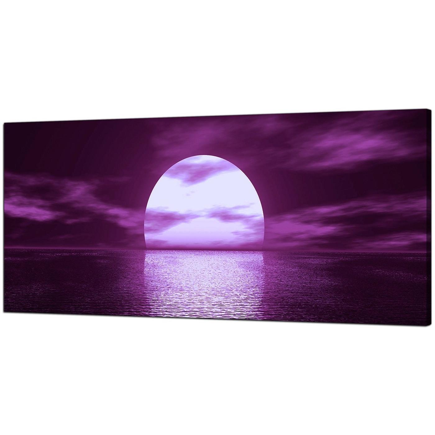Newest Purple Wall Art Regarding Large Purple Canvas Art Of A Sea Sunset (View 3 of 15)