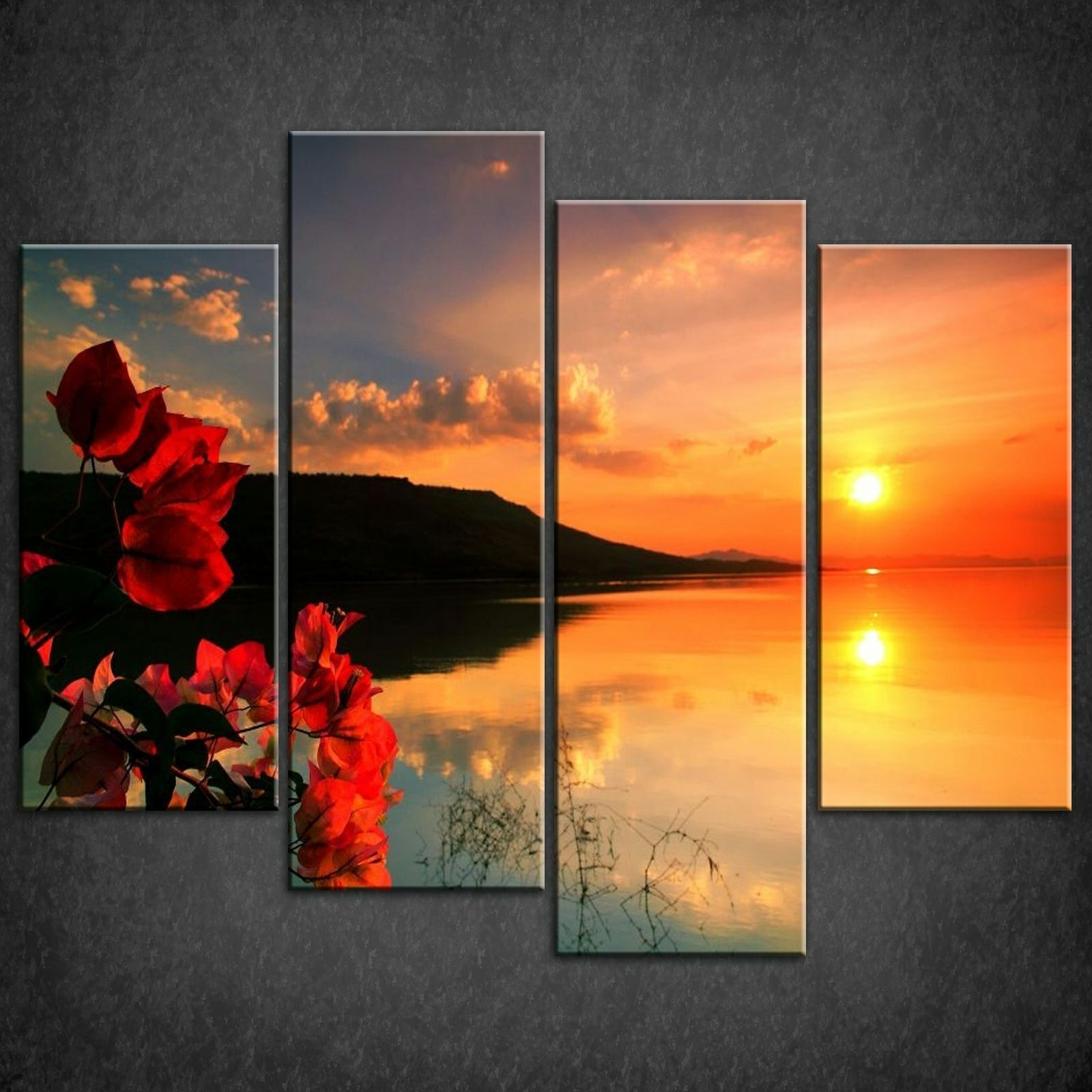Newest Red Calm Sunset Split Canvas Print Picture Wall Art With Wall Canvas Art (View 9 of 15)