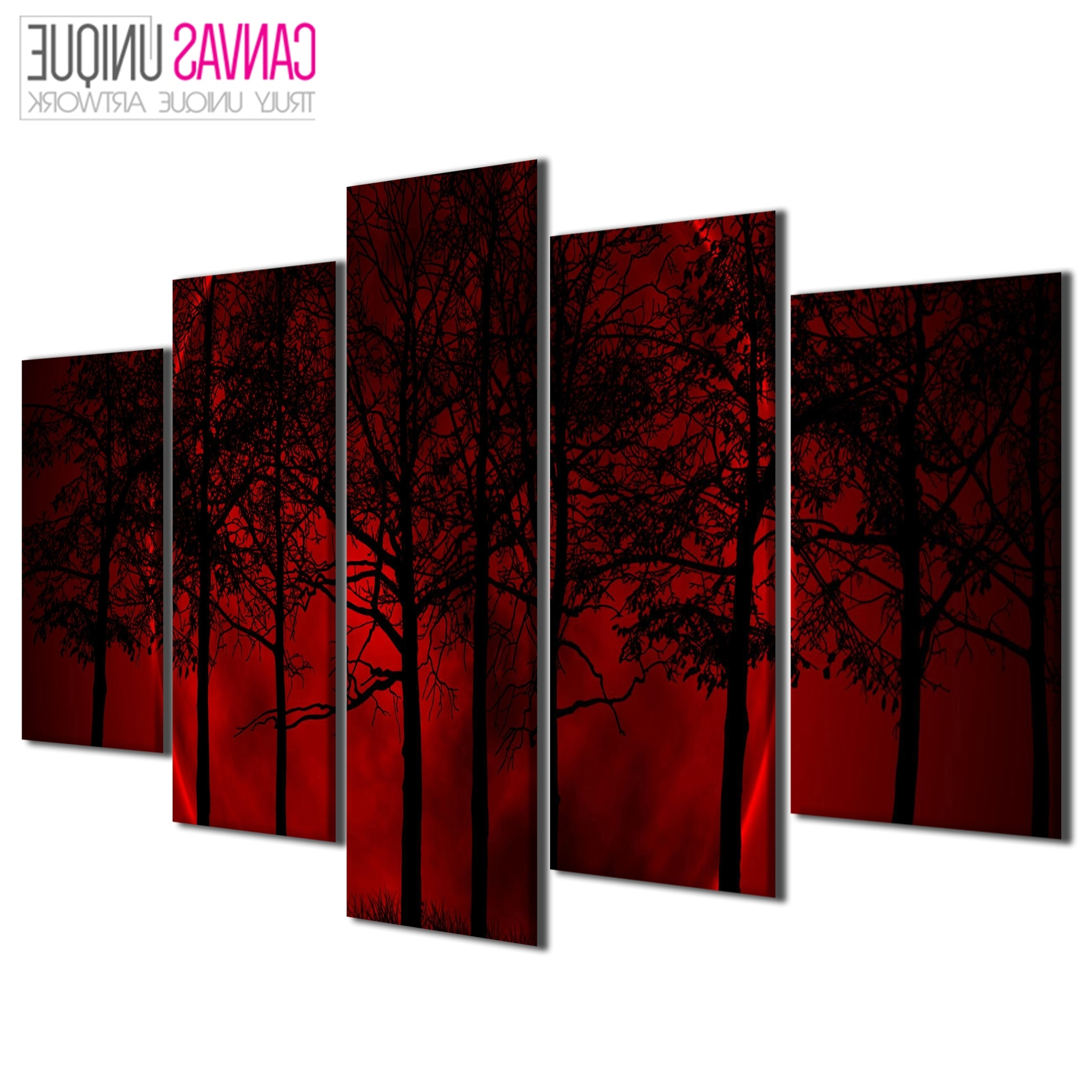 Newest Red Canvas Wall Art Pertaining To Pc111 Red Blood Moon Scenic Multi Frame Canvas Wall Art Print (View 8 of 15)