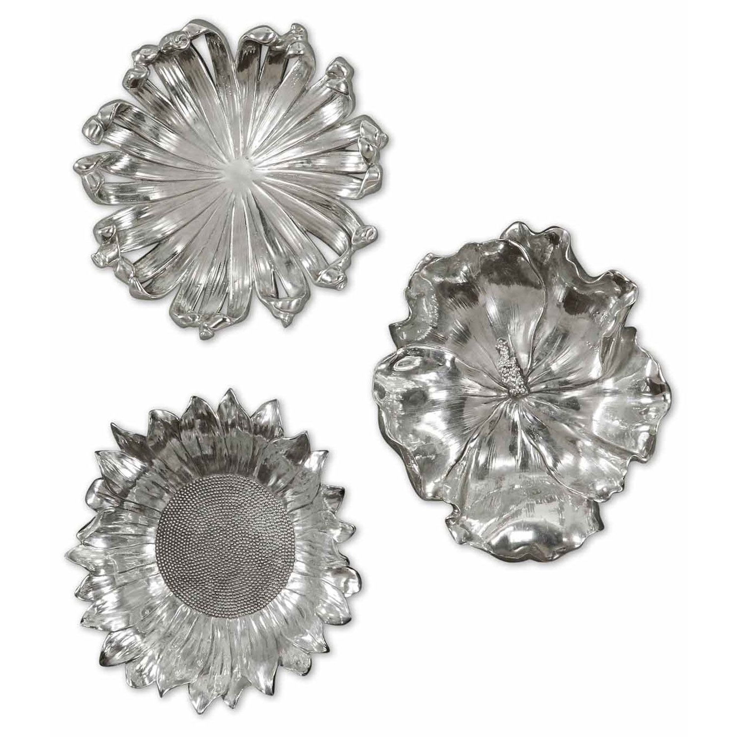 Newest Silver Flowers Metal Wall Art, Set Of Three Uttermost Wall Sculpture Pertaining To Silver Metal Wall Art (View 2 of 15)