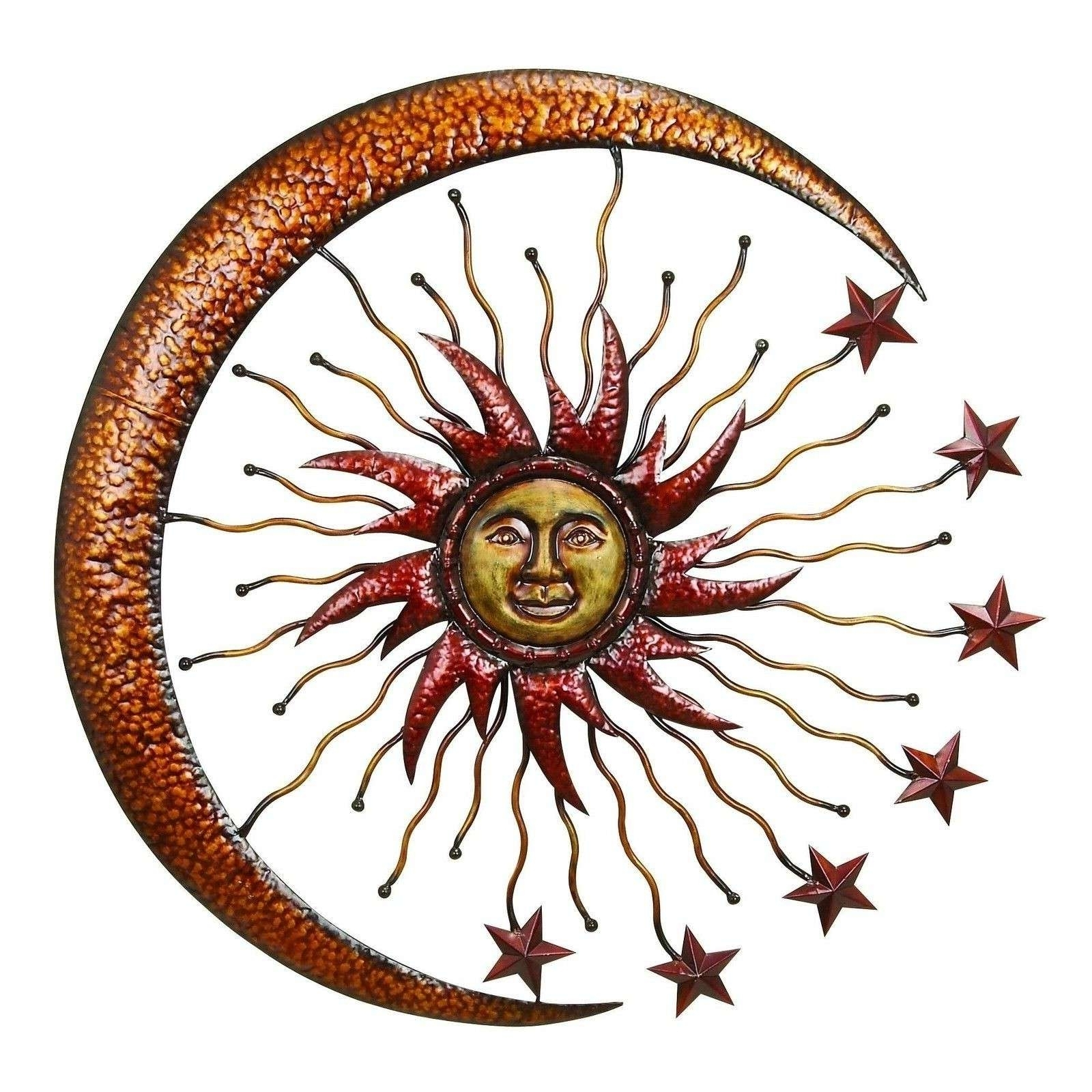 Newest Sun And Moon Metal Wall Art Pertaining To Sun Wall Hanging Outdoor Metal Art Decor Moon Copper – Awesome Home (View 7 of 15)