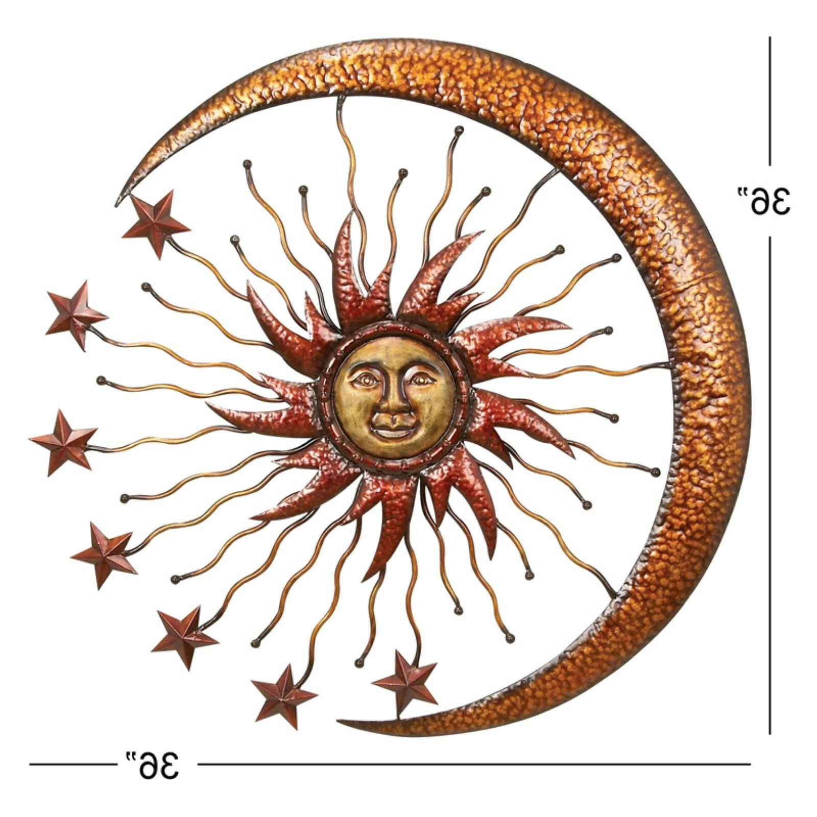 Newest Sun And Moon Metal Wall Art Regarding New Sun Moon Star Wall Decor Art Sculpture Hanging Display Metal (View 6 of 15)