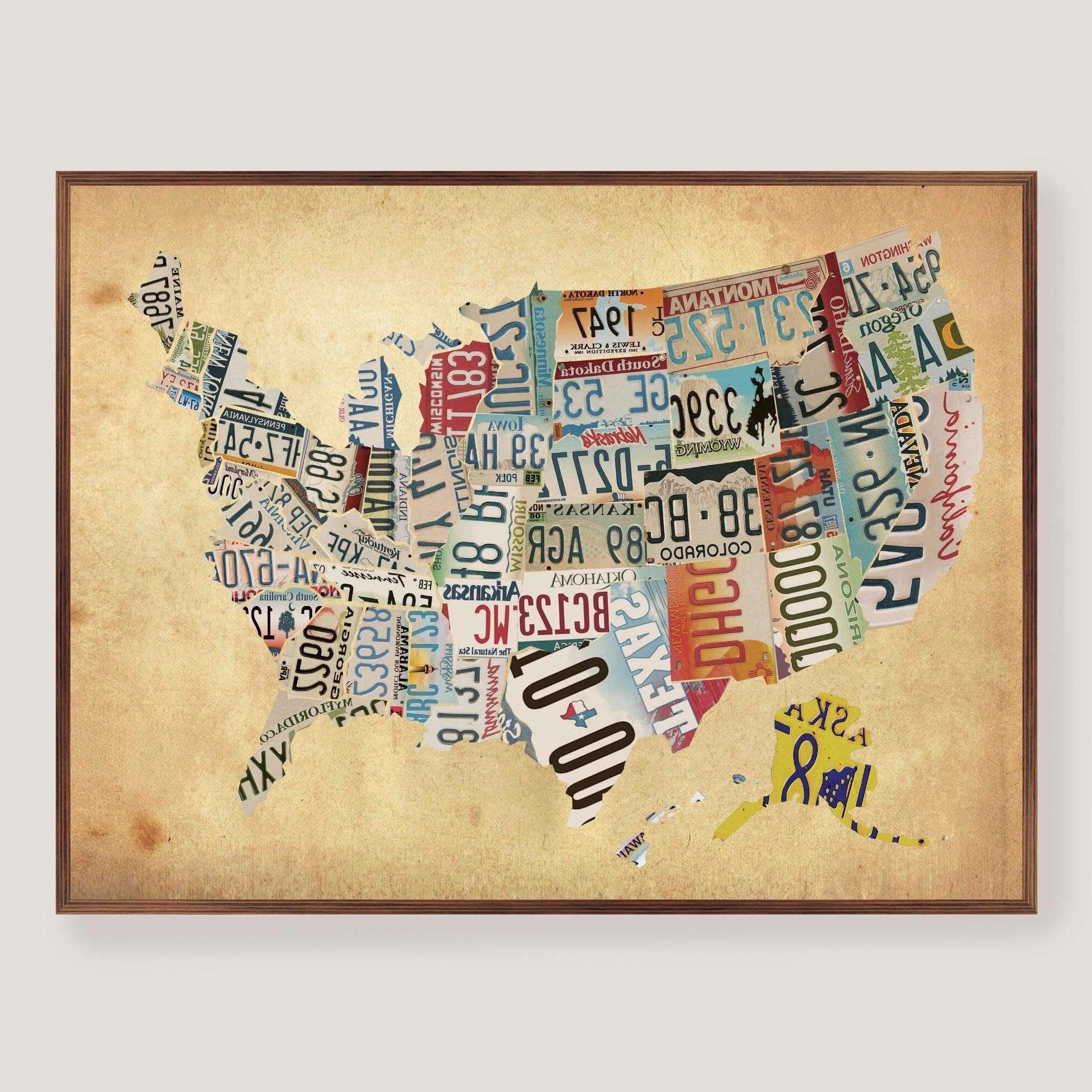 Newest Us Map Wall Art Within Wooden Wall Hanging Map Of Us Wooden Usa Map Wall Art Delightful (View 3 of 15)