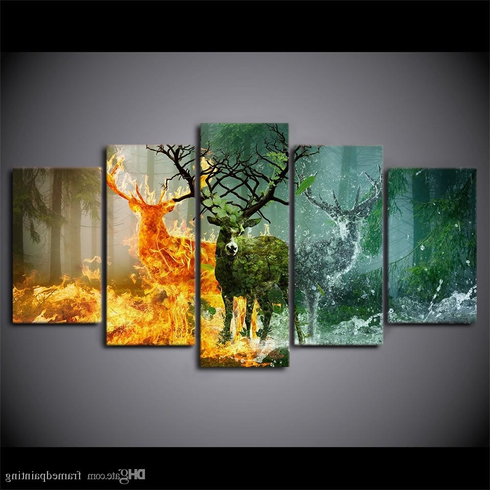Newest Wall Canvas Art Pertaining To 2018 Hd Printed Canvas Art Deer Canvas Painting Nature Forest Wall (View 7 of 15)