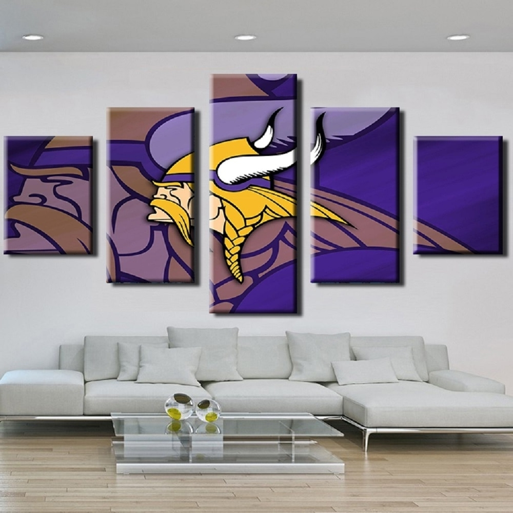 Nfl Wall Art Pertaining To Most Current 5Pcs Cuadros Nfl Minnesota Vikings Team Logo Oil Painting On Canvas (View 7 of 15)