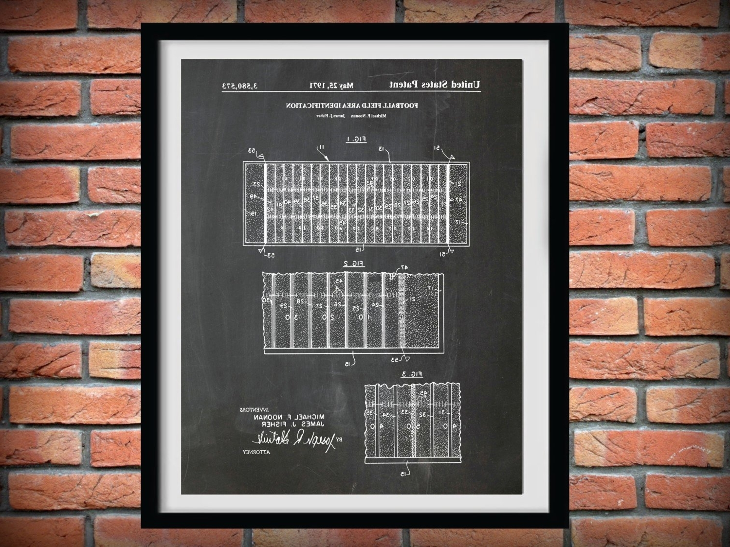 Nfl Wall Art Pertaining To Popular 1971 Football Field Layout Patent – Art Print Poster – Sports Wall (View 8 of 15)