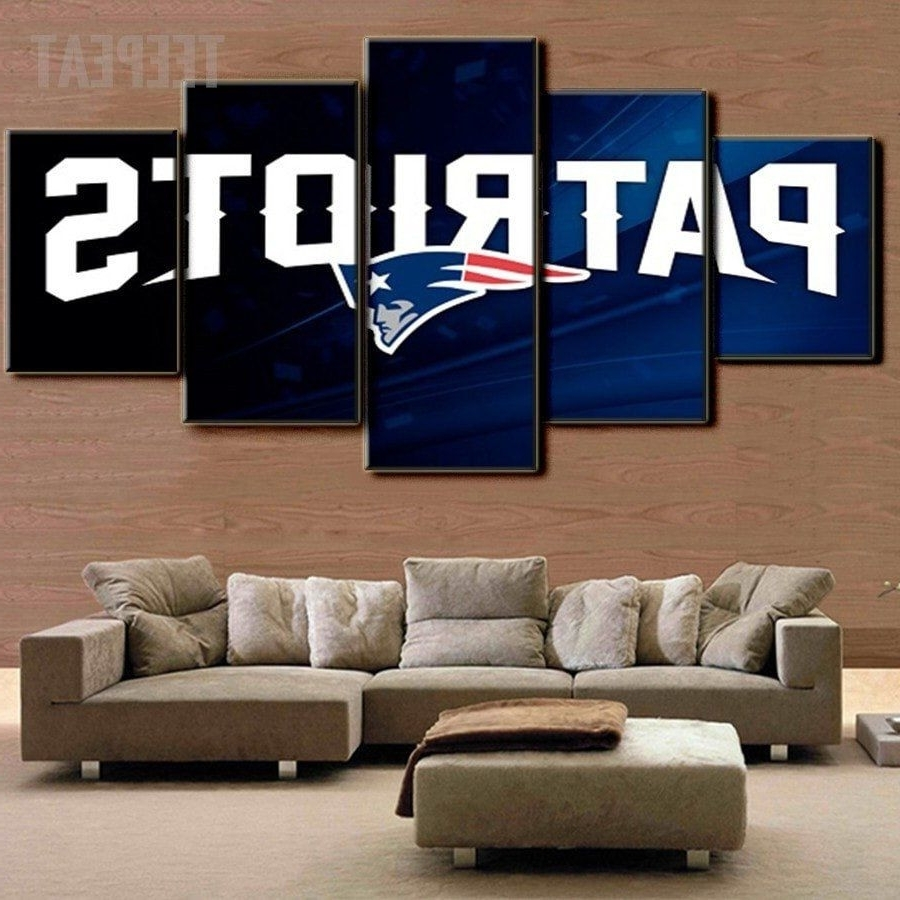 Nfl Wall Art Throughout Popular New England Patriots 5 Piece Canvas Painting Design Ideas Of Nfl (View 9 of 15)